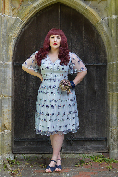Plus size pinup Miss Amy May models the Embroidered Lace V-Neck Midi Dress by Chi Chi London for a fit and sizing review