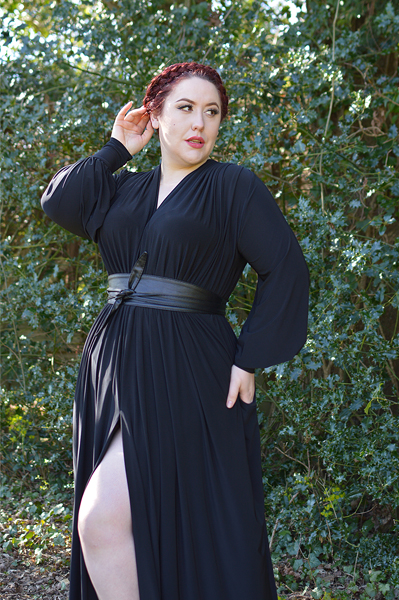 Plus size pinup Miss Amy May models the Black Claudia Maxi Gown by Alexandra King for Deadly is the Female to showcase styling it 3 different ways