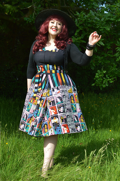 Plus size pinup Miss Amy May models the Empower You Panel dress gifted by Love UR Look for a fit and size review