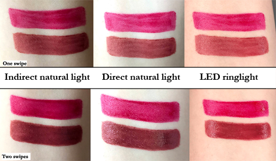 Revlon Colorstay Satin Ink lipstick swatches of Silky Sienna and On A Mission shown in direct natural light, indirect natural light, and LED ring lighting