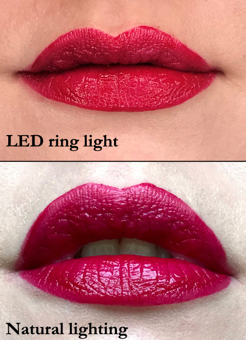 Revlon Colorstay Satin Lipstick in On A Mission swatched for review in natural and LED lighting