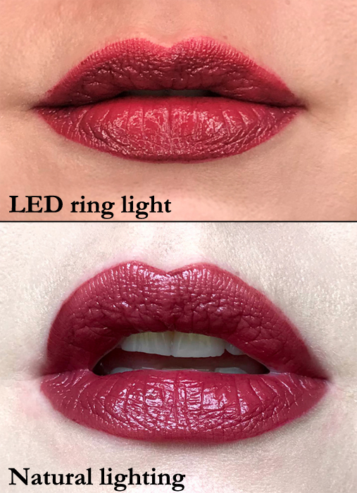 Revlon Colorstay Satin Lipstick in Silky Sienna swatched for review in natural and LED lighting
