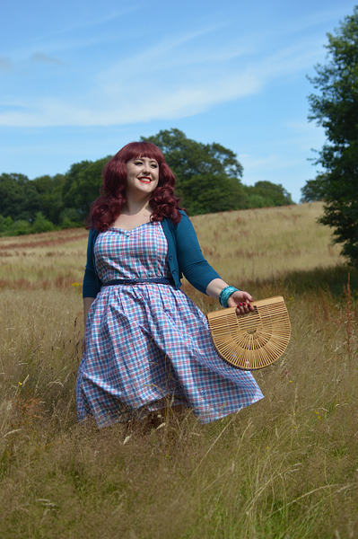 Plus size pinup Miss Amy May models the Sophia Halterneck pink and blue Check dress gifted by Dolly & Dotty for a fit and size review