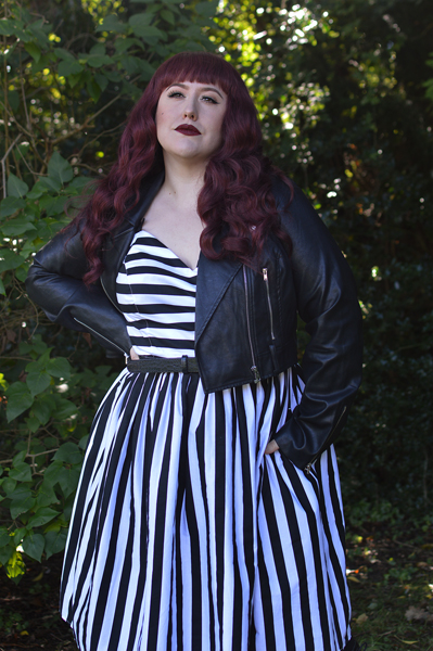 Plus size pinup Miss Amy May models the Juno 50s dress by Hell Bunny for a fit and size review